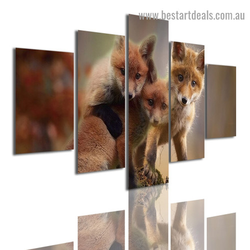 Fox Babies Animal Modern Artwork Picture Canvas Print for Room Wall Adornment