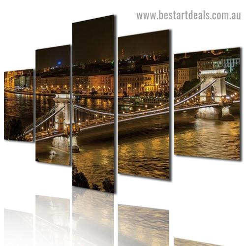 Budapest Bridge Cityscape Modern Artwork Picture Canvas Print for Room Wall Ornament