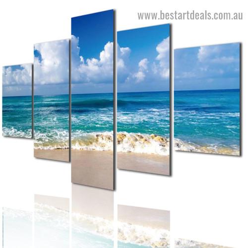 Beach Ocean Scenery Landscape Modern Artwork Image Canvas Print for Room Wall Ornament