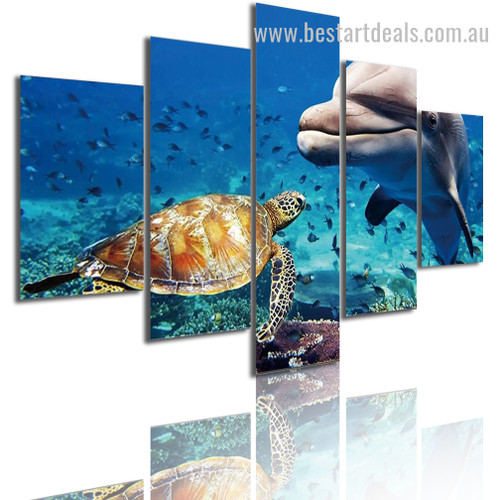 Underwater World Nature Seascape Modern Framed Effigy Portrait Canvas Print