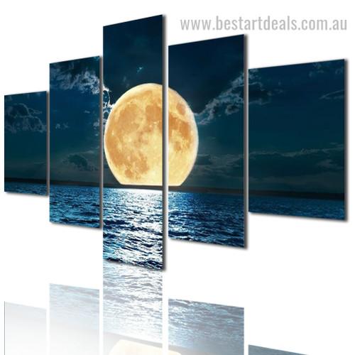 Adorable Moon Nature Landscape Modern Framed Smudge Image Canvas Print