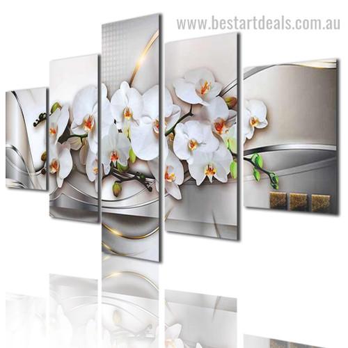 Phalaenopsis Orchids Bloom Botanical Modern Portraiture Image Canvas Print