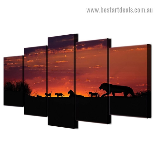 African Sunset Animal Modern Artwork Picture Canvas Print for Room Wall Décor