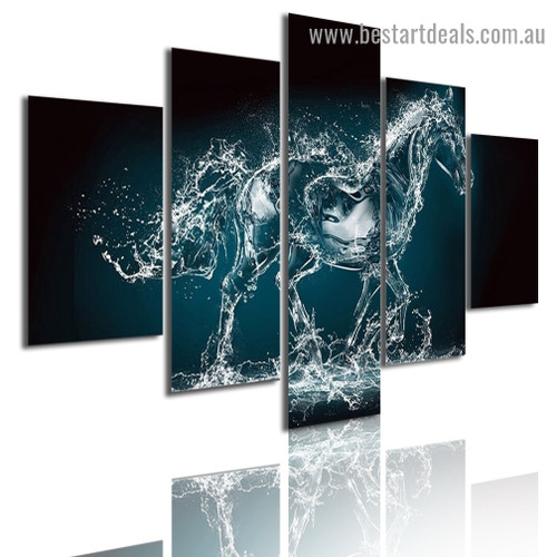 Water Horse Abstract Animal Modern Artwork Portrait Canvas Print for Room Wall Ornament