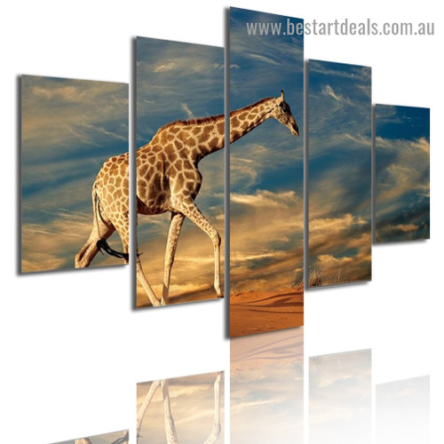 Giraffe Animal Landscape Modern Artwork Picture Canvas Print for Room Wall Garniture