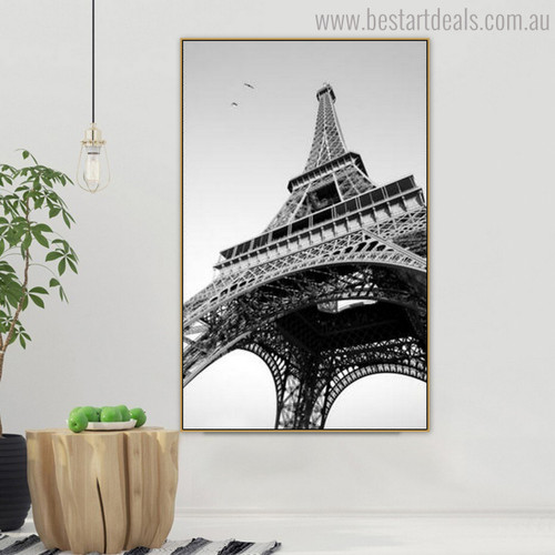 Monochrome Eiffel Tower Modern Cityscape Painting Canvas Print for Lounge Room Wall Garnish