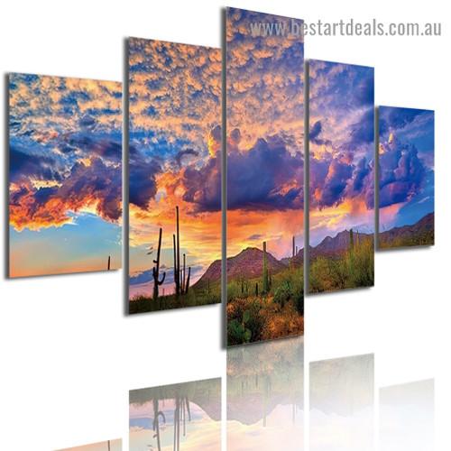 Vibrant Sunset Landscape Modern Artwork Image Canvas Print for Room Wall Adornment