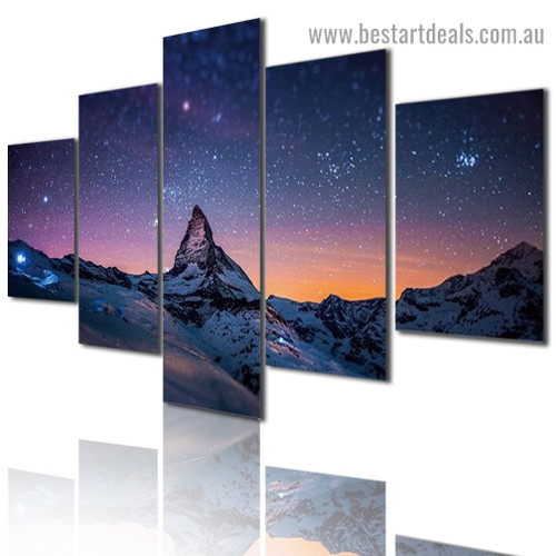Starry Mountain Landscape Nature Modern Artwork Portrait Canvas Print for Room Wall Adornment