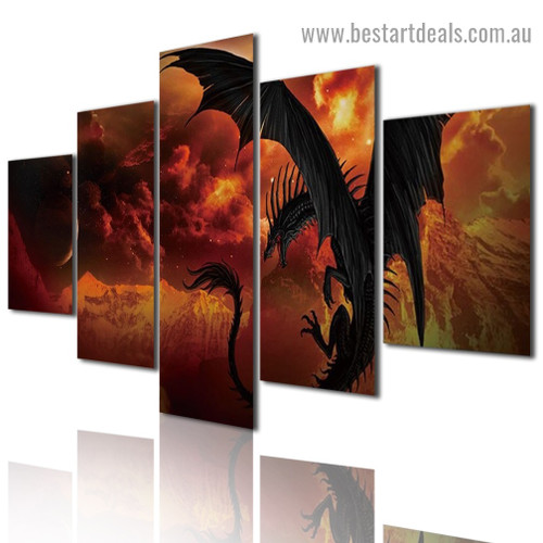 Flying Dragon Fantasy Modern Artwork Portrait Canvas Print for Room Wall Garniture