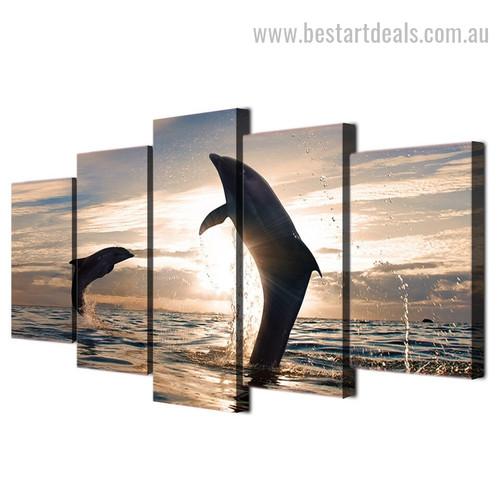 Playful Dolphins Animal Seascape Modern Framed Painting Portrait Canvas Print