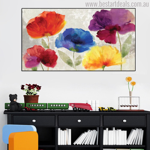 Colorific Poppies Botanical Modern Watercolor Painting Canvas Print for Study Room Wall Decor