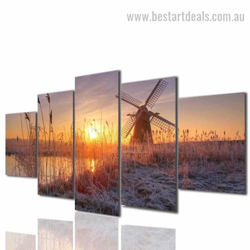 Windmill Landscape Modern Framed Effigy Pic Canvas Print