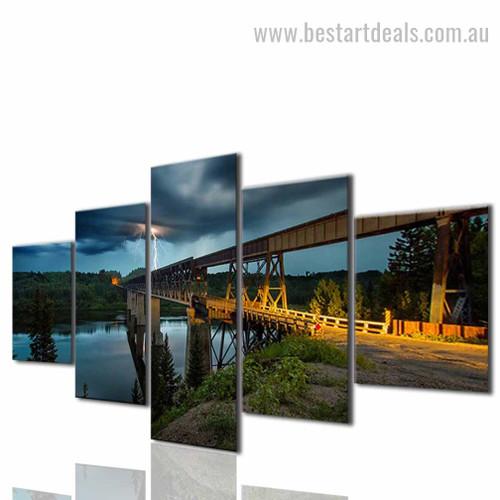 City Bridge Cityscape Modern Framed Artwork Photo Canvas Print