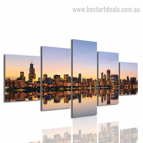 Museum Campus Cityscape Modern framed Effigy Image Canvas Print
