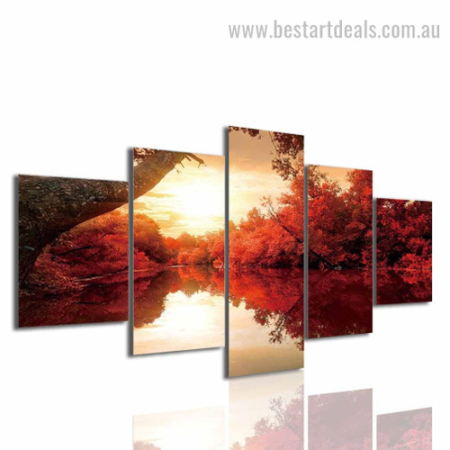 Autumn Lake Nature Landscape Modern Framed Smudge Picture Canvas Print