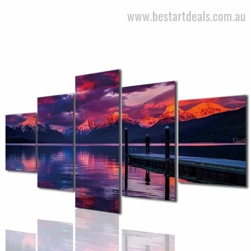 Sunset Mountains Nature Landscape Modern Framed Artwork Pic Canvas Print