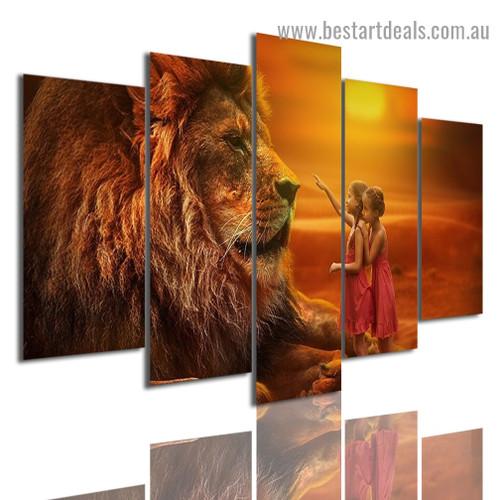 Giant Lion Animal Figure Modern Artwork Photo Canvas Print for Room Wall Decor