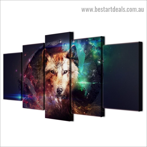 Wolf Animal Illustration Modern Artwork Image Canvas Print for Room Wall Adornment