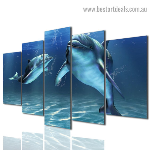 Underwater Dolphins Animal Seascape Modern Artwork Photo Canvas Print for Room Wall Ornament