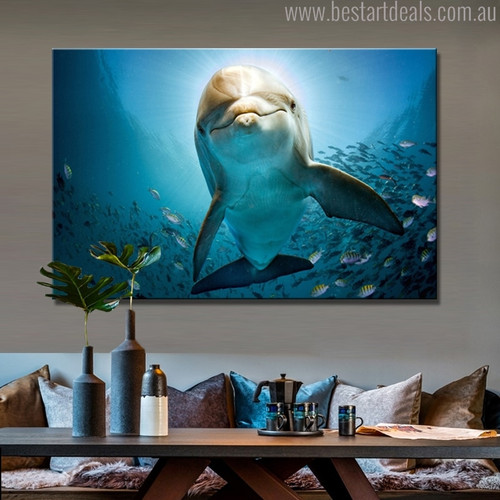 Dolphin Nature Seascape Animal Picture Canvas Print for Living Room Wall Outfit