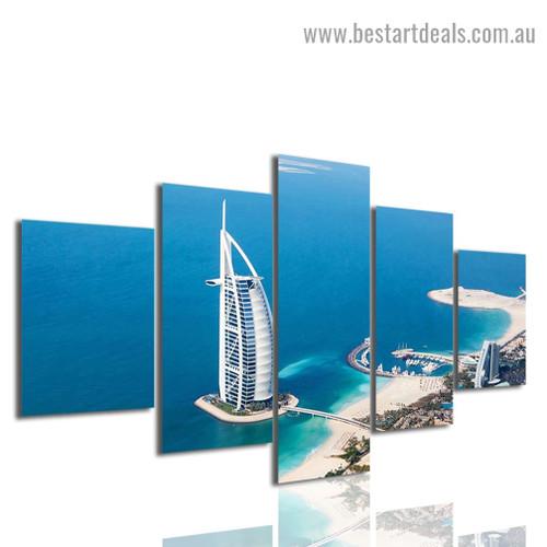 Burj Al Arab Cityscape Modern Artwork Picture Canvas Print for Room Wall Adornment