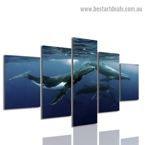 Alaskan Whale Animal Seascape Modern Artwork Photo Canvas Print for Room Wall Ornament