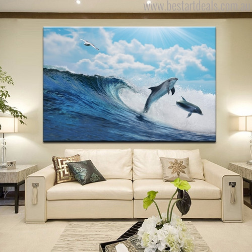 Two Dolphins Nature Seascape Animal Picture Canvas Print for Living Room Wall Decor