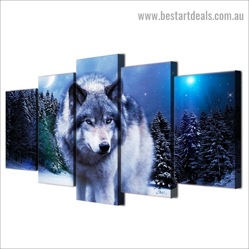 Snow Wolf Animal Landscape Modern Artwork Photo Canvas Print for Room Wall Adornment