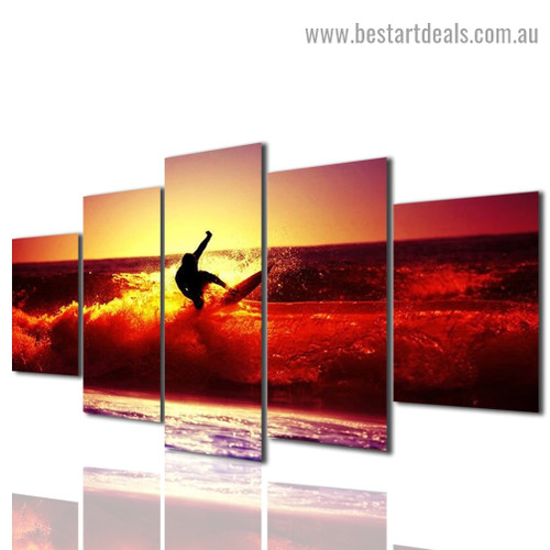 Surfing Man Figure Landscape Modern Artwork Photo Canvas Print for Room Wall Ornament
