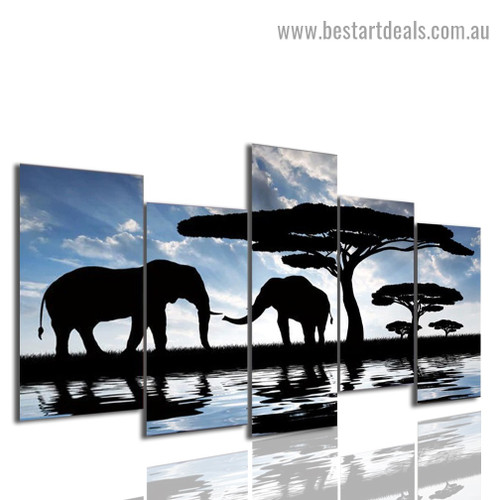 African Elephant Landscape Modern Artwork Portrait Canvas Print for Room Wall Garniture
