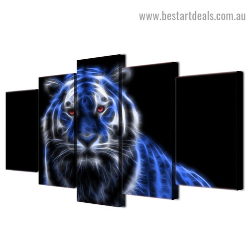 Blue Glowing Tiger Animal Abstract Modern Artwork Photo Canvas Print for Room Wall Garniture