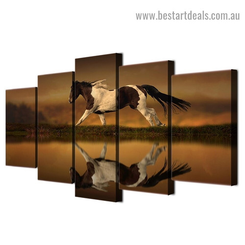 Horse Reflection Animal Landscape Modern Artwork Image Canvas Print for Room Wall Adornment