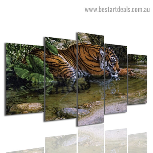 Tiger Lake Animal Landscape Modern Artwork Portrait Canvas Print for Room Wall Decoration