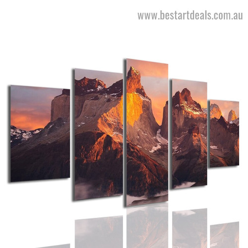 Andes Mountains Landscape Modern Artwork Image Canvas Print for Room Wall Adornment