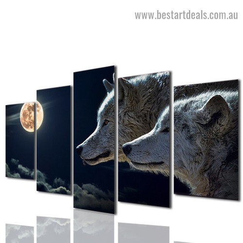 Moon Wolf Animal Nature Modern Artwork Photo Canvas Print for Room Wall Adornment