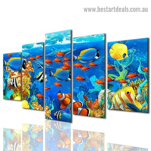 Tropical Fish Animal Modern Artwork Photo Canvas Print for Room Wall Adornment
