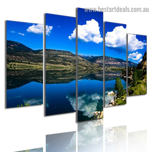 Cloud Reflection Landscape Modern Artwork Picture Canvas Print for Room Wall Ornament