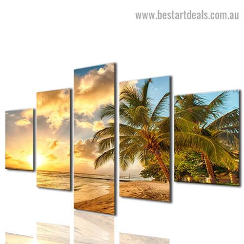 Sea Wave Beach Landscape Modern Artwork Image Canvas Print for Room Wall Garniture
