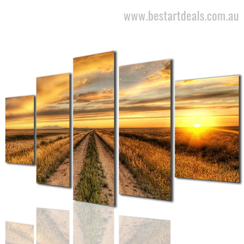 Farm Field Nature Landscape Modern Framed Effigy Pic Canvas Print
