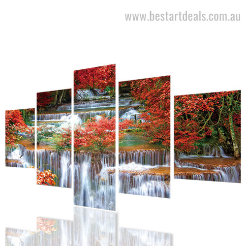 Waterfall Scenery Botanical Nature Landscape Modern Framed Effigy Picture Canvas Print