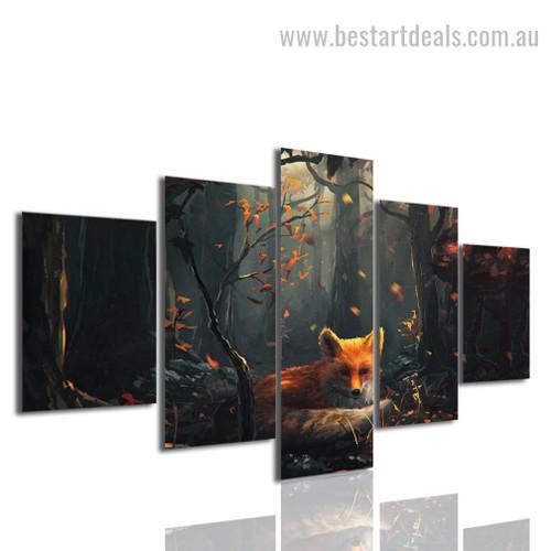 Vixen Animal Botanical Nature Modern Framed Artwork Image Canvas Print