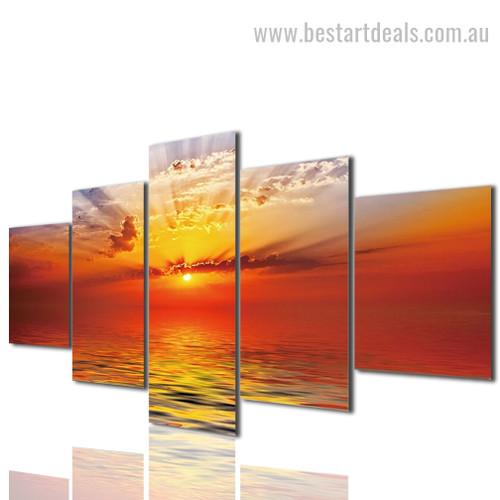 Beautiful Sunrise Nature Landscape Modern Framed Artwork Picture Canvas Print