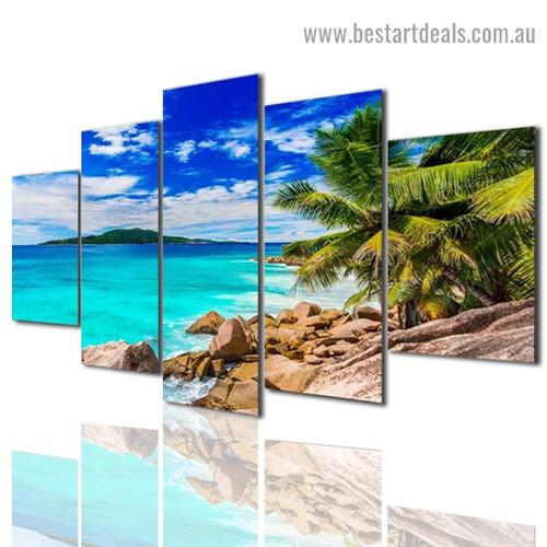 Tropical Beach Landscape Modern Artwork Picture Canvas Print for Room Wall Garniture