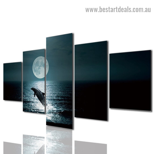 Moon Dolphin Seascape Animal Modern Artwork Photo Canvas Print for Room Wall Adornment