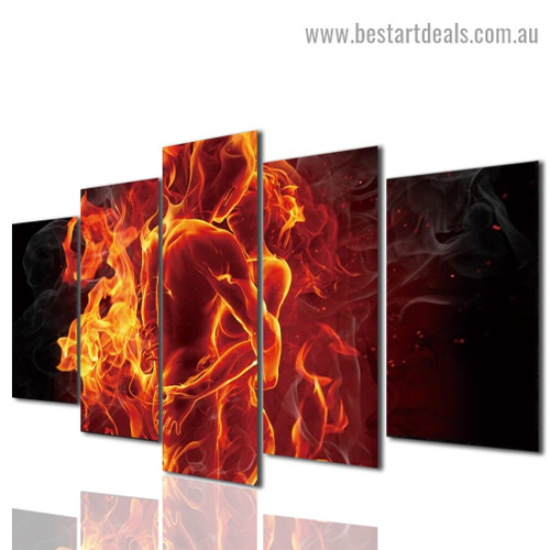 Erotic Flaming Couple Figure Modern Artwork Photo Canvas Print for Room Wall Adornment