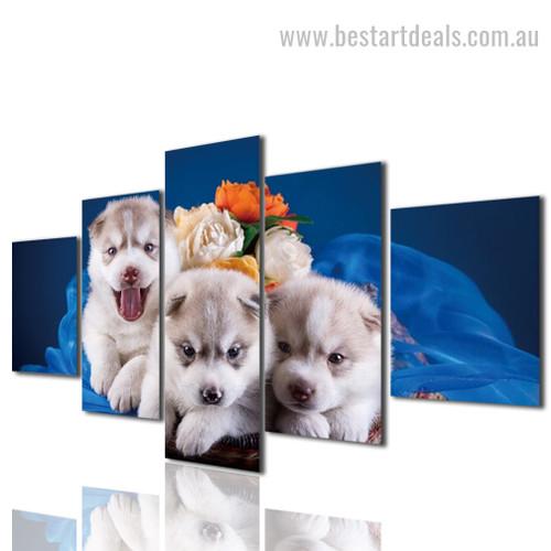 Cute Puppies Animal Modern Framed Artwork Pic Canvas Print