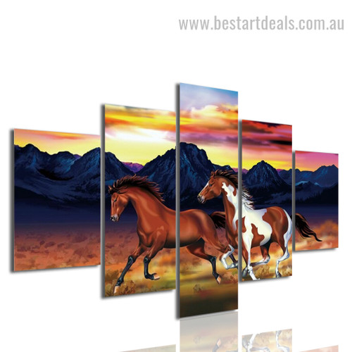 Gushing Horses Animal Modern Framed Painting Picture Canvas Print