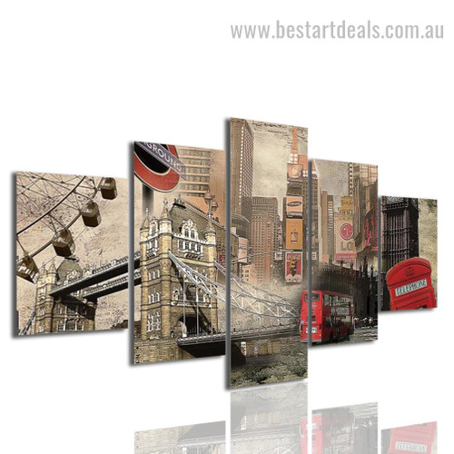 City of London Cityscape Modern Framed Effigy Picture Canvas Print