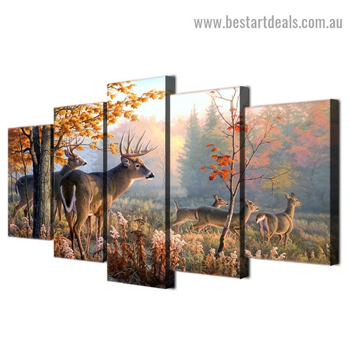 Autumn Deers Animal Landscape Modern Artwork Image Canvas Print for Room Wall Adornment