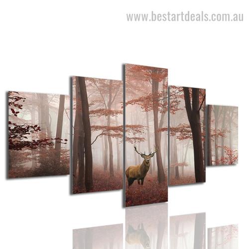 Lone Stag Animal Landscape Modern Framed Smudge Pic Canvas Print